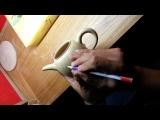 蔡老師壺刻創作打稿;為求拍攝明顯效果請蔡老師深描一次做示範 20130915